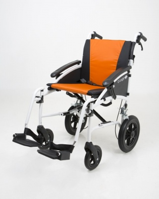 Excel G-Logic Lightweight Transit Wheelchair 16'' White Frame and Orange Upholstery Slim Seat